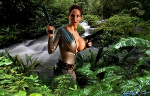 bianca beauchamp, canadian, model, redhead, sexy babe, fetishqueen, cosplay, lara croft, tomb raider, jungle, artwork, latex, catsuit, decollete, queue, pistols, rubber, fetish, tomb raider set, bianca, water, wet, girls and guns, hi-q