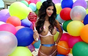 micaela schaefer, german, professional nudist, model, brunette, balloons, multicolor, tits, smile, fake boobs, big lollipop, lingerie, bra, floss string