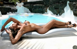 claudia, raft, pool, nude, huge nipples, water, heels, ebony, sexy, tyra lex