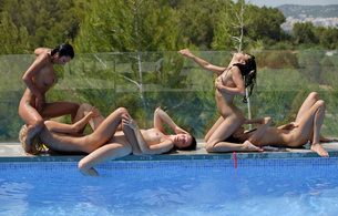 five girls, pool, playing, brunete, licking, sucking, skinny, small tits, tiny tits, perfect girl, sexy, delicious, masturbation, whores, adria, megana, lily, leo, mia, 5 babes, lesbian, girl girl pics, water