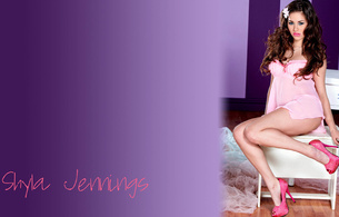 shyla jennings, sexy, purple, pink, food, lingerie, heels., pink, flower, long hair, high heels, sitting, posing, minimalist wall