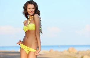 selena, model, brunette, bikini, sexy body, skinny, delicious, sexy, beach