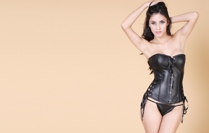 brunette, model, sexy babe, posing, smile, black, leather, lingerie, corset, panty, legs, sexy, minimalist wall, hi-q, lingerie series, fetish babe