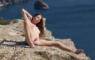 kesia, mika a, natural, outdoor, rocks, solo, small tits, plump pussy