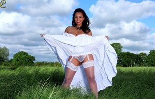 danica collins, danica, exotic, solo, milf, posing, outdoor, meadow, heaven, clouds, erotic, white, lingerie, stockings, panty, dress, smile, donna ambrose