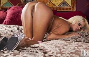 nikita von james, blonde, russian, pornstar, model, kneeling, doggy, heels, legs, bed, long hair, sexy, erotic, pussy, cunt, vertical smile, drop panty, smile, nikita, ass, nice rack, butt, arse, vertical smile, ass wallpaper