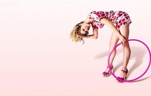 girl, ring, dress, pink, shoes, hoop, hula hoop, sexy babe, blonde, smile, legs, high heels, bend forward, short hair, minimalist wall, skinny, delicious, sexy
