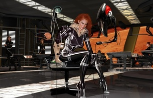3d, art, fake, virtual babe, sexy babe, artwork, sitting, chair, latex, lingerie, fetish, shiny clothes, heels, redhead, rubber in space, mars needs women, fetish babe, 3d latex