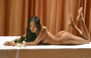 kamilla, brunette, sexy girl, nude, naked, roses, 16y, too young, graceful a foot, beautiful sight, beautiful hair, flowers, sexual soles a foot