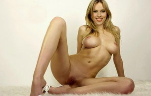 scarlett johnsson, celebrity, actress, fake, beauty, white fur rug, sexy babe, long hair, personality, hollywood, shaved, cunt, spread, legs, heels, big boobs, knockers, funbags, natural big breasts, big tits, celebrity fake