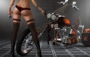 fantasy, girls, bikes, lingerie, ass, legs