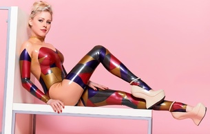 jannina hofmann, blonde, german, sexy babe, playmate, fetish model, long hair, posing, sitting, chair, multicolor, latex, catsuit, white, crazy, shoes, legs, blue eyes, jannina, shiny, rubber, fetish, tight clothes, own cut, fetish babe