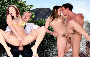 monique alexander, dani daniels, brunette, redhead, pool, whores, outdoor, sex, tits, pussy, bikini, bush, dick, boobs, group sex, foursome