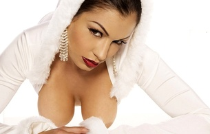 aria giovanni, big boobs, funbags, jewels, earrings, lying, white, fur, lipstick, red lipstick, brunette, mika walls