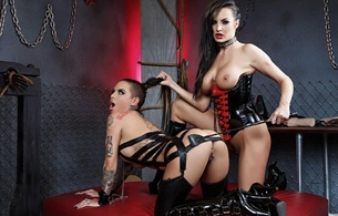 alektra blue, christy mack, 2 babes, brunette, pornactress, sexy babe, adult model, long hair, brunettes, dungeon, studio, sexy dressed, pvc, lycra, lingerie, topless, corset, knee boots, whip, alektra and christy, spanked ass, hot, ass wallpaper, babes in boots, perfect, enhanced boobs, mistress, and, slave, whipped ass, spanking, whore, underbust corset