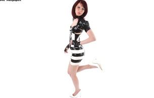 brunette, young, model, sexy babe, short hair, posing, black and white, shiny, latex, lingerie, bra, jacket, corset, miniskirt, legs, high heels, rubber, fetish, fembe, lingerie series, minimalist wall, own cut, hi-q, fetish babe
