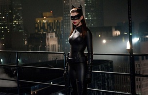 anne hathaway, celebrity, actress, hollywood, glamour, personality, posing, catwoman, black, mask, shiny, catsuit, high boots, movie, batman, dark knight, hi-q, anne, fetish babe, real celebs wall