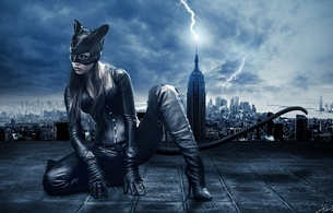 brunette, model, sexy babe, long hair, posing, kneeling, black, lingerie, shiny, lycra, catsuit, leather, mask, corset, high boots, gloves, cosplay, catwoman, artwork, erotic, fantasy, city, background, noir, fetish babe, masked, babes in boots
