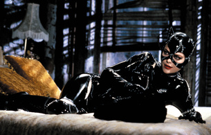 michelle pfeiffer, blonde, sexy babe, actress, hollywood, glamour, laying, posing, black, shiny, pvc, catsuit, mask, red lips, erotic, lingerie, knee boots, movie, catwoman, batman, tight clothes, shiny, fetish, fetish babe, real celebs wall, babes in boots, shiny clothes