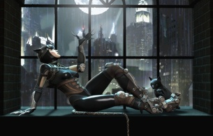 3d, art, fake, virtual babe, sexy babe, catwoman, sitting, window, sexy dressed, artwork, fantasy, hi-q