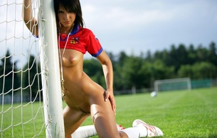 girls, nude, boobs, pussy, legs, tits, black hair, sports, soccer, monika, monika vesela, tanned, oiled, sporty, football, sly, great body, tits out
