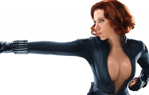scarlett johansson, redhead, actress, sexy babe, hollywood, black, catsuit, leather, boots, gloves, black widow, movie, character, personality, fake, sexy, decollete, close up, celebrity fake