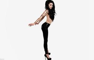 georgie, young, brunette, australian, model, sexy babe, long hair, posing, standing, topless, smile, shiny, lycra, leggings, legs, high heels, tattoo, minimalist wall, own cut, hi-q, graceful pose, miss georgie