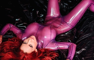 bianca beauchamp, canadian, model, redhead, sexy babe, busty, fetishqueen, fetish supermodel, laying, bed, posing, purple, shiny, latex, catsuit, c-tru, big boobs, knockers, funbags, fake boobs, big tits, rubber, fetish, bianca, fetish babe, super boobs