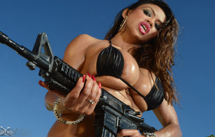 armie field, armie flores, asian, busty, model, big boobs, huge tits, large breasts, sexy, brunette, boobs, hot, black hair, nude, body, legs, busty babe, wet hair, enormous boobs, melons, gazongas, gun, girls and guns, actiongirls