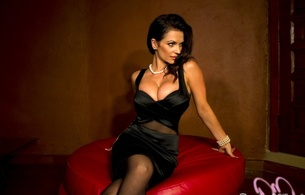 denise milani, sexy, model, brunette, real celebs wall, denisa krajickova, denisa krajickova trlica, black dress, busty, denisa trlica