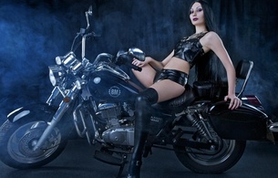 mervilina, brunette, russian, alternative, gothic, model, slim, sexy babe, long hair, pale skin, sitting, posing, motorbike, black, leather, top, panty, lycra, stockings, legs, high heels, hi-q, erotic, lingerie series, fetish babe