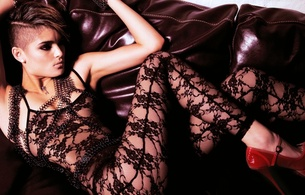 brunette, young, model, slim, sexy babe, short hair, sitting, posing, sofa, erotic, lingerie, bodystocking, legs, high heels, hi-q, lingerie series