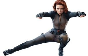scarlett johansson, redhead, actress, fake, sexy babe, hollywood, black, catsuit, leather, boots, gloves, black widow, movie, character, personality, scarlett, c-tru, celebrity fake, hi-q, fetish babe