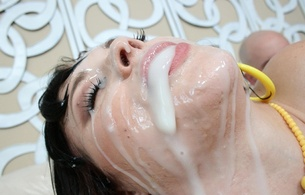 brunette, young, chubby, pornactress, busty, sexy babe, short hair, close up, eyes, face, facial, creamed, cumshot, sperm, fake cum, bukkake, full load, hq porn, riley ray, swallowing