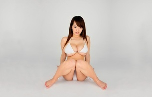 hitomi tanaka, big boobs, huge tits, brunette, japanese, sexy babe, long hair, exotic, busty, sitting, posing, bikini, erotic, legs, feet, minimalist wall, hitomi