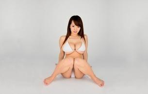 hitomi tanaka, big boobs, huge tits, brunette, japanese, sexy babe, long hair, exotic, busty, sitting, posing, bikini, erotic, legs, feet, minimalist wall, hitomi