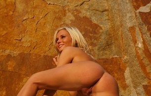 sonia c, metart, clay mine, blond, thin, natural, small tits, puffy nipples, cute, small, sunshine, out doors