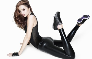 miranda may kerr, australian, model, brunette, sexy babe, long hair, posing, sexy dressed, tight clothes, shiny, lycra, leggings, gloves, legs, sneakers, nice rack, sexy ass, miranda kerr, supermodel, minimalist wall, beauty, amazing, real celebs wall