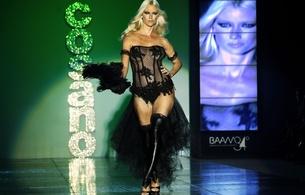 nicole newman, blonde, model, sexy babe, long hair, fashionshow, catwalk, black, lingerie, corset, panty, heels, shiny, lycra, stockings, long legs, nicole, lingerie series