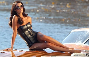 paz vega, spanish, actress, model, brunette, sexy babe, long hair, celebrity, sitting, posing, boat, grey, latex, swimsuit, legs, feet, sexy, personality, fetish babe, real celebs wall