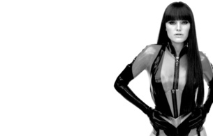 malin akerman, swedish canadian, actress, singer, model, brunette, sexy babe, long hair, celebrity, posing, latex, lingerie, tight clothes, silk spectre, watchmen, minimalist wall, black and white, b&w, fetish babe, real celebs wall