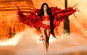 adriana lima, brasilian, supermodel, brunette, personality, slim, sexy babe, long hair, catwalk, fashionshow, victorias secret, red, lingerie, bra, panty, garterbelt, leather, gloves, wings, lingerie series, adriana, real celebs wall