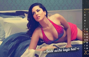 sunny leone, sunny, leone, underboobs, sexy, brunette, hot, beauty, lingerie, hot, perfect, beauty, wonderful curves, gorgeous, bed, leaned, ass, shiny, bollywood, celeb, calendar