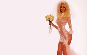 zahia dehar, algerian, blonde, model, young, ex, callgirl, busty, sexy babe, long hair, posing, smile, c-tru, white, bridal dress, robe, veil, roses, zahia, hi-q, erotic, lingerie series