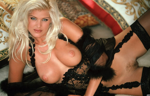 playboy, stockings, lingerie, blonde, smile, tits, pussy, close up, eyes, face, victoria silvstedt, boobs, big tits