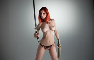 ariel, ariel piper fawn, model, amazing, redhead, pussy, sexy, boobs, tits, beauty, breasts, nipples, beautiful, hair, gorgeous, perfect, body, hi-q, fantasy, sword, katana, background