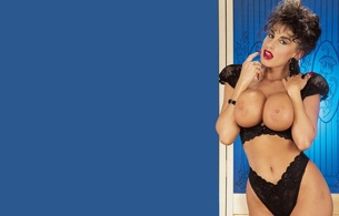sarah louise young, sarah young, 80s, pornstar, brunette, sexy babe, curly hair, adult model, retro, classic, posing, black, lingerie, topless, tits, nipples, erotic, red lips, sarah, own cut, tits out