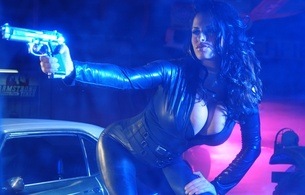 wendy fiore, model, amazing, brunette, big boobs, huge tits, large breasts, sexy, perfect, gorgeous, big breasts, beauty, long hair, beautiful, black hair, enormous boobs, busty babe, smoke, gun, action girls, leather, catsuit, hi-q, action girls