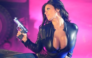 wendy fiore, model, amazing, brunette, big boobs, huge tits, large breasts, sexy, perfect, gorgeous, big breasts, beauty, long hair, beautiful, black hair, enormous boobs, busty babe, gun, action girls, leather, catsuit, earrings, hi-q, action girls