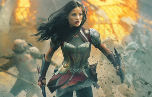 thor, the dark world, jamie alexander, brunette, warrioress, armor, sword, shield, fighting, fire, fantasy, long hair, no fear